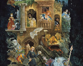 Shakespearean Fantasy : Heaven and Earth Designs James C. Christensen counted cross stitch patterns embroidery fantasy magical