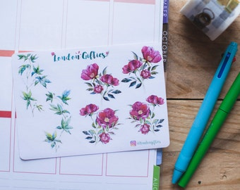 Red rose botanicals - decorative watercolour planner stickers suitable for any planner -304-