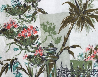 40s Vintage Barkcloth Fabric Authentic True Vintage Lingerie Storage Bag Pouch