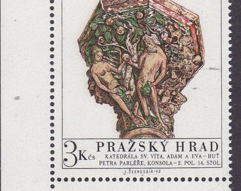 Czechoslovakia Vintage ART Stamps 1972. Adam & Eve, Column capital,St. Vitus Cathedral Coat of Arms Stamps+Sheets of Four as Issued