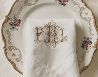Natural linen embrodeiry monogram napkin with double hemstitch