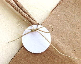 30 Mini Circle Tags, Price Tags,  1 Inch, White, Gift Tags, Party Favor Tags, Small,  Weddings, Showers