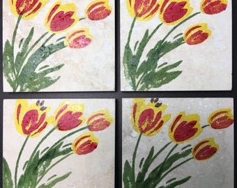 Coasters - Natural Stone coasters - Gift for Mom - Mother's Day gift
