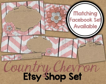 Chevron Etsy Cover Banner Set - Burlap and Wood Etsy Cover Image - Rustic Chevron Banner - Country Etsy Cover - Flower Etsy Shop Icon