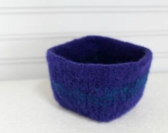 Kleines Wollkörbchen lila Türkis, Strick Filz Ablagekorb, gekochte Wolle Mini Aufbewahrungskorb Lila Wolle Vorratsbehälter, quadratische Schale