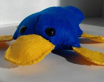 Platypus stuffed animal plush- handsewn felt stuffie