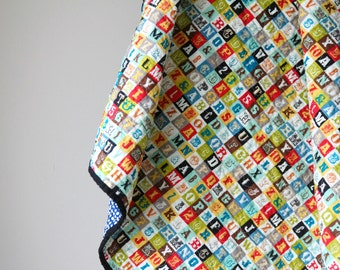 Alphabet and Number Quilt, Modern Baby Quilt, Patchwork, Nursery Bedding, Boy Quilt , Girl Quilt, Primary Colors, Handmade Quilt