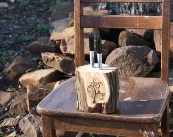 Rustic Wedding Decor, Pen or Marker Holder, tree stump, 2 holes, laser engraved, for rustic, outdoor, barn, garden wedding, party, event