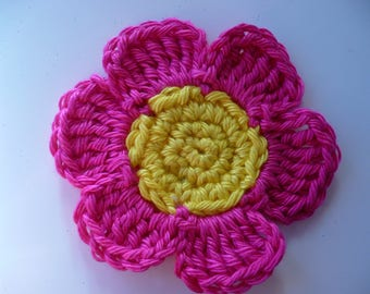 crochet flower, yellow and pink cotton