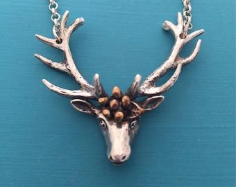 Sterling Silver Deer Head with Bronze Flower