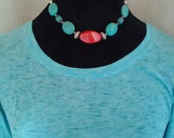 Turquoise necklace, country necklace, rustic necklace, rustic jewelry, necklace, turquoise jewelry, handmade jewelry,