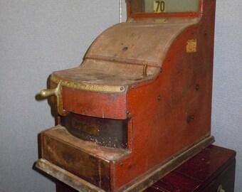 Antique Mechanical Red St Louis Cash Register No. 038