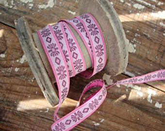 Pink Flower Embroidered Jacquard Ribbon