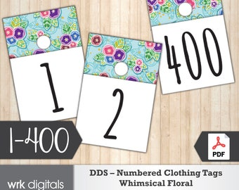 Dot Dot Smile Clothing Number Tags, 1-400, Whimsical Floral Design, Pop-Up Boutique, Fashion Consultant, Direct Sales, INSTANT DOWNLOAD