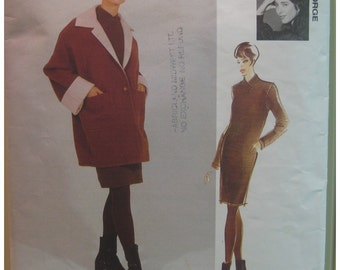 "Straight Dress Pattern, V-neck, Long Sleeves, Matching 3/4 Coat, Lined, Jennifer George, Vogue Attitudes No. 1468 Size 16, 18 (Bust 36, 38"")"