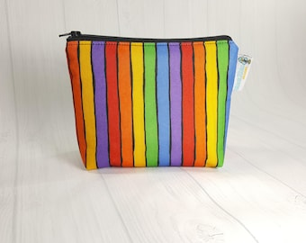 Rainbow Stripes Bright Zipper Notions Pouch, Mini Zippered Wedge Bag, Craft Pouch NP0040