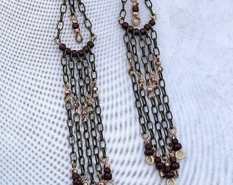 Antique Brass, Seed Beads, Chandelier earrings, Dangle earrings, Drop Earrings, Shoulder Dusters, Jewelry, Handmade, Boho Style