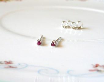 1.5mm ruby tiny micro earrings, simple sterling silver studs, lab ruby gemstone earrings, ruby birthstone, July birthstone stud earrings