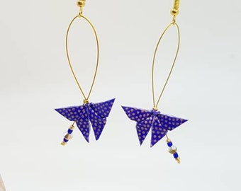 Origami butterflies blue and gold earrings