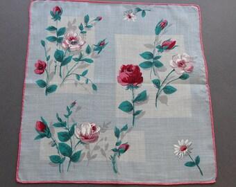 Sale - Vintage 1950s Floral Cotton Hankie Handkerchief