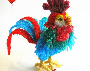 """Pattern / Tutorial Beaded Ornament -Master class to create """"Peter-Cock"""""""
