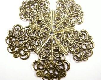 6pc antique bronze metal filigree wraps-4170