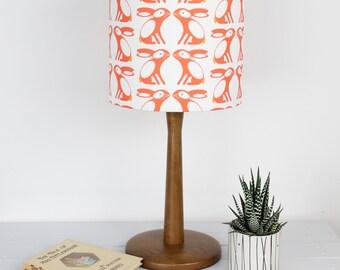Swedish Bunny Pattern Drum lampshade Carrot Orange Light Shade