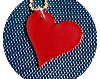 Heart Necklace, Valentine's Day Gift for Her, Love Jewelry, Red Heart Shape, Lasercut Necklace