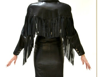 Vintage Black Leather Dress With Fringe Size Small By Michael Hoban North Beach Western Biker Motorcycle Cowgirl Dress