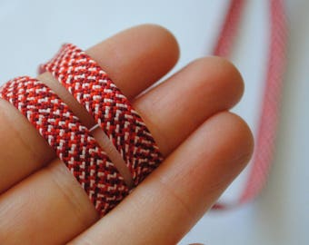 1 m 90 fancy quality 7mm red white polyester braided Ribbon