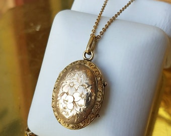 Victorian Gold Filled Inscribed Locket Necklace