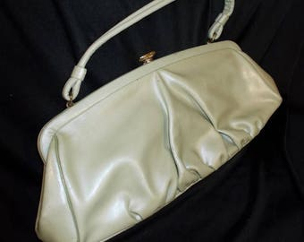 Pearl Green Vinyl ROCKABILLY Vintage 1950's Large Women's Handbag Purse