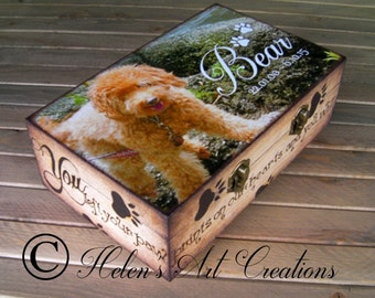 Pet Memorial Keepsake Box, Personalized Pet Urn, Dog Urn, Custom Memorial Box, Photo Keepsake Box, Pet Portrait, Wood Pet Box, Pet Urn