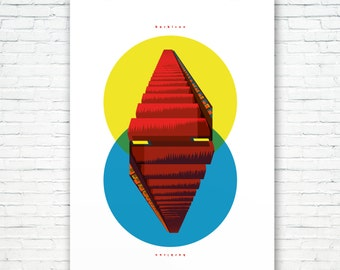 Brutalist Brute: The Barbican Stairway to Heaven. An Upside-downside-up Art print. Illustrated, Matte & Giclee in A3 or A2 sizes. Home Decor