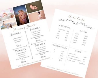 Photography Pricing Guide- 4 Choice Package & A la Carte Menu