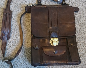 Vintage leather messenger bag, Yugoslavian army officer bag, leather purse from 70's