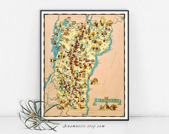 Vintage VERMONT MAP - Instant Digital Download - printable retro map for framing, totes, t-shirts, crafts, mugs, wall decor, dorm room, tags
