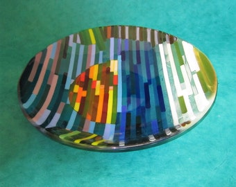 Sunset Stripes Fused Glass Bowl
