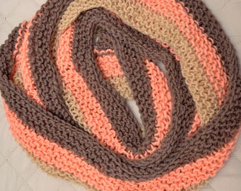 Ladies Scarf in Peach, Tan and Brown