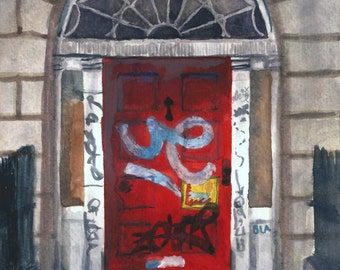 Aquarelle de Dublin géorgien porte presse 8 x 10, Red Door Painting, art architectural, l'art du graffiti