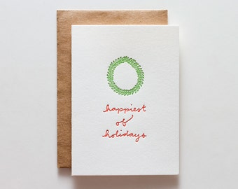 Wreath Holiday - letterpress holiday card - CH163