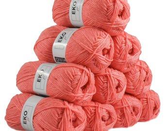 10 x 50g knitted Yarn eko fil, #111 Coral