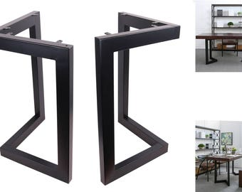 """High Quality 28"""" Dining Table Legs, L-shaped Steel table legs, Office Table Legs,Computer Desk Legs,Industrial kitchen table legs,Black"""