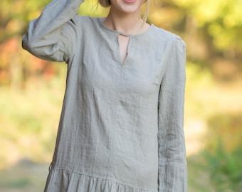 Linen Maxi Dress/ Linen Natural Longsleeve dress/ Long Dress With Dropped Waist/ Linen Casual Dress