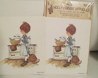 2 Holly Hobbie Appliques. Holly Hobbie Girl Appliques. Card Making.  Journals. Craft Project.