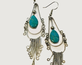 Exquisite Antique Vintage Sterling  Turquoise Chandelier Long Dangle Earrings