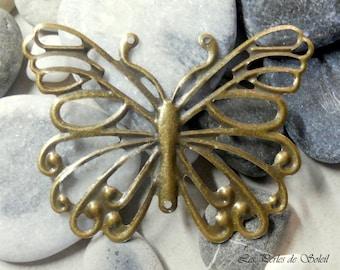 2 butterflies plate sewing bronze 6.5 x 5 cm