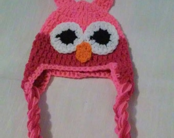 Crochet owl hat with tassels. Hot pink and shocking pink, infant sizes, toddler size, child size, adult size, owl hat, crochet owl hat, girl