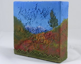 Autumn Mountain Abstract Landscape, Fall Color Meadows Textured Original Miniature Painting