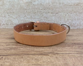 Collar, dog collars made of leather, leather collar for dogs, made to measure, nature / oiled